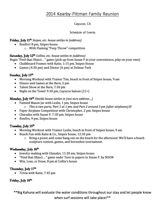 Family Reunion Schedule Pic 2