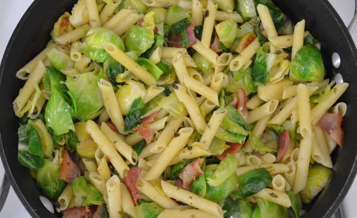 Garlic Oil Penne Pasta with Sauteed Bacon Brussels Sprouts